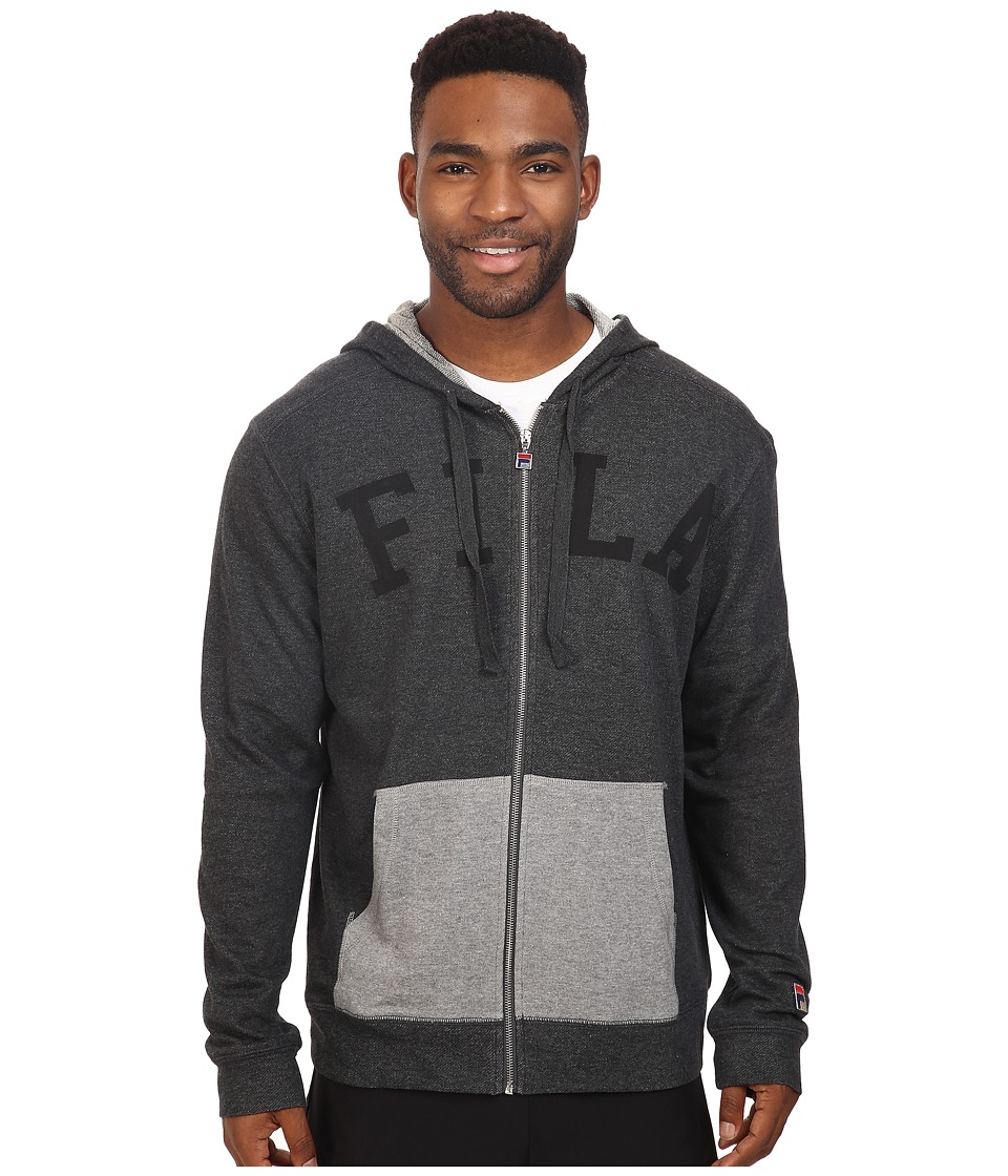 Fila - Gym Rat Full Zip Hoodie (Black Heather/Black) Men's Sweatshirt