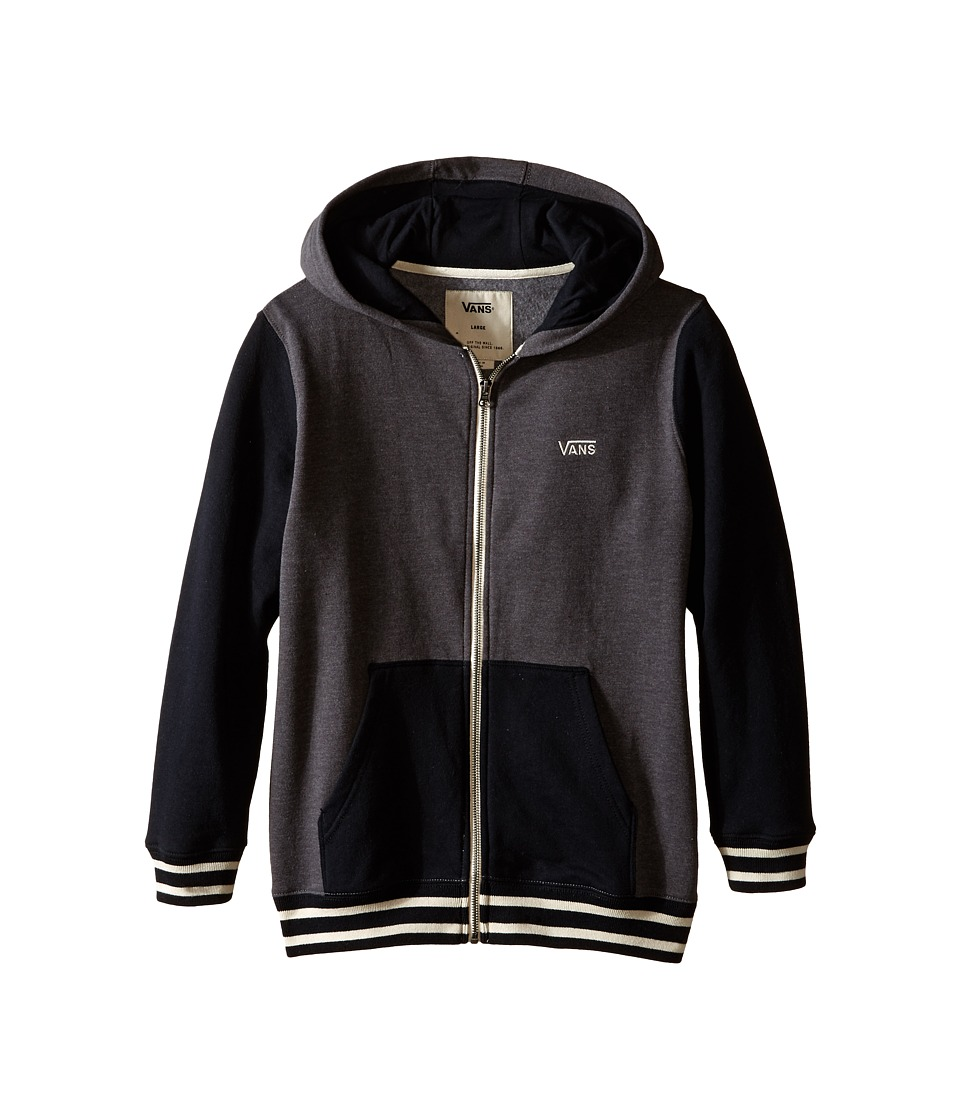 Vans Kids - Core Basic Colorblock Zip Hoodie III (Big Kids) (Charcoal Heather/Black) Boy