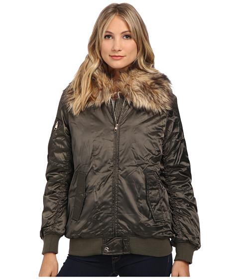 Steve Madden - Satin Puffer Bomber Jacket w/ Faux Fur Collar (Olive) Women's Coat