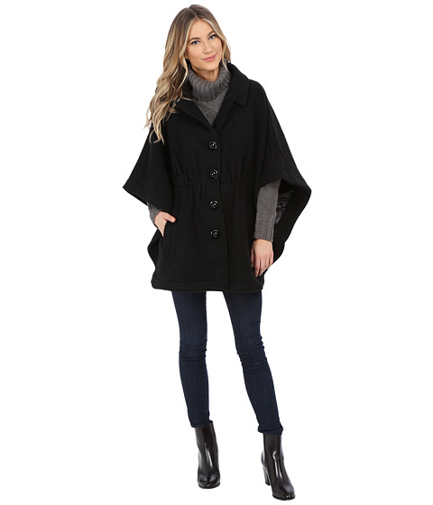 Steve Madden - Notch Collar Cape Coat (Black) Women's Coat