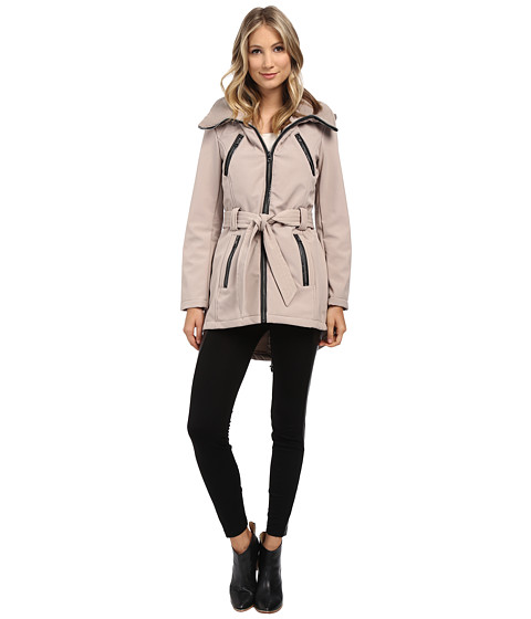 Steve Madden - Softshell Rib Collar Self Belt Coat (Sand) Women