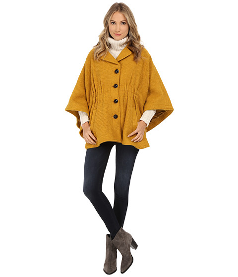 Steve Madden - Notch Collar Cape Coat (Mustard) Women's Coat