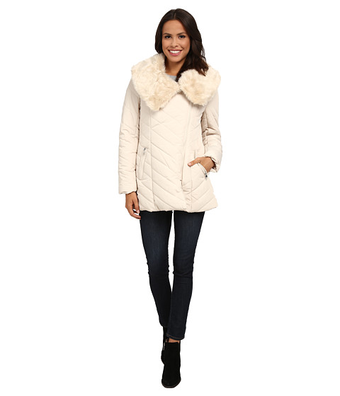Steve Madden - Asymetric Zip Puffer Coat (Cream) Women