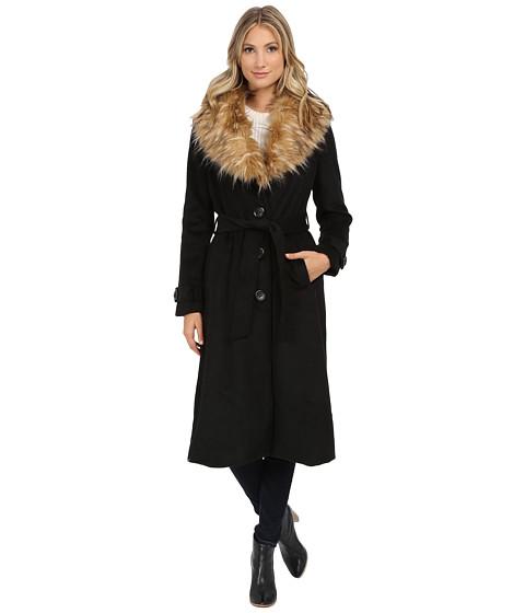 Steve Madden - Wool Blend Maxi Coat w/ Faux Fur Collar (Black) Women's Coat