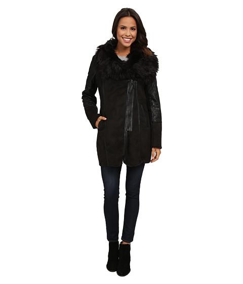 Steve Madden - Faux Shearling Coat w/ Faux Fur Collar (Black) Women's Coat