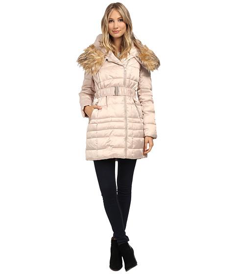 Steve Madden - Satin Puffer Asymetric Zip Puffer Coat (Champagne) Women's Coat