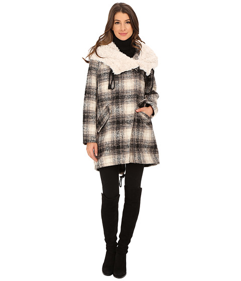 Steve Madden - Blanket Coat (Black/Cream) Women's Coat