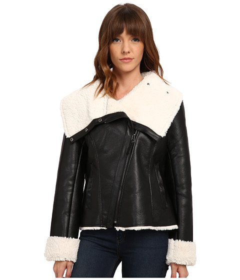 Steve Madden - Asymetric Zip PU Shearling Jacket (Black) Women's Coat