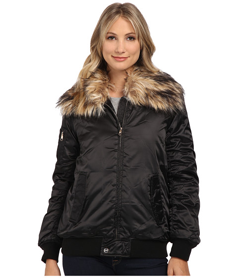 Steve Madden - Satin Puffer Bomber Jacket w/ Faux Fur Collar (Black) Women's Coat