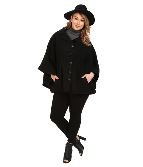 Steve Madden - Plus Size Notch Collar Cape Coat (Black) Women's Coat