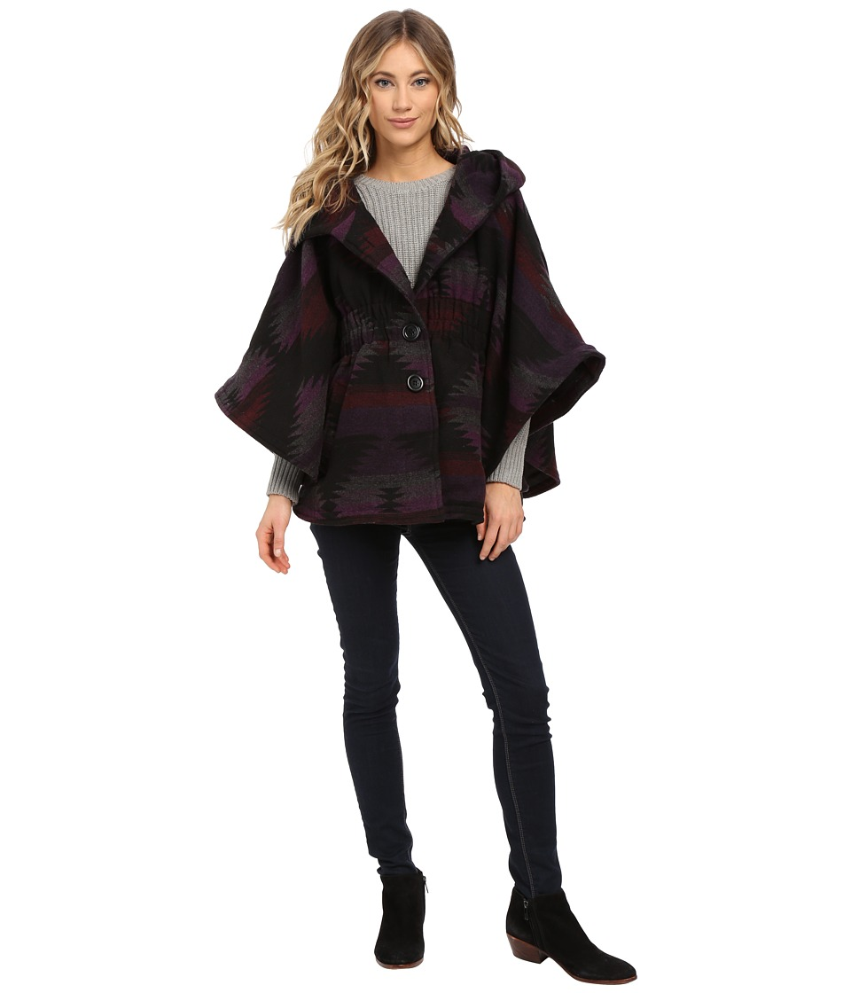 Steve Madden - Wool Blend Hooded Cape (Purple Aztec) Women's Coat