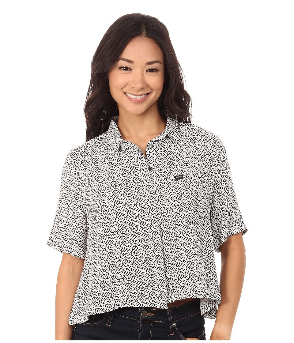 Hurley - Wilson Short Sleeve Top (White) Women's Short Sleeve Button Up