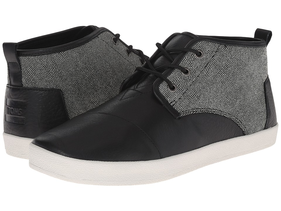TOMS - Paseo Mid (Black/White/Caviar Leather) Men's Lace up casual Shoes