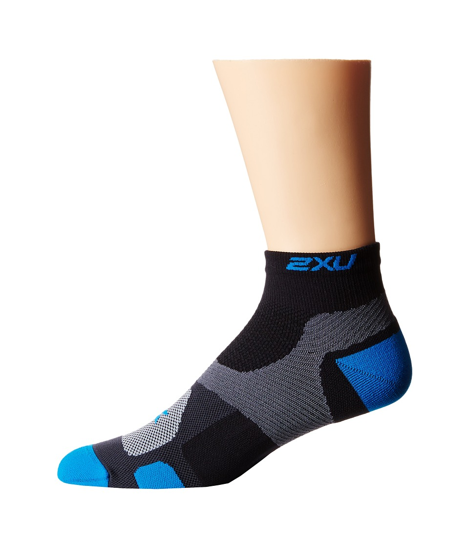 2XU - Training VECTR Sock (Black/Vibrant Blue) Men's Crew Cut Socks Shoes