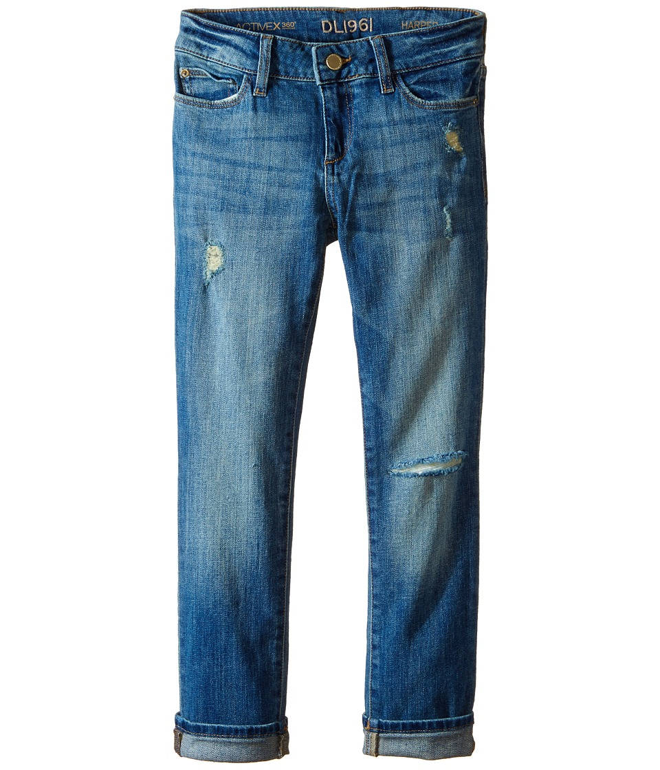 DL1961 Kids Harper Boyfriend Unstitched Cuffed Jeans in Meerkat (Big Kids) (Meerkat) Girl