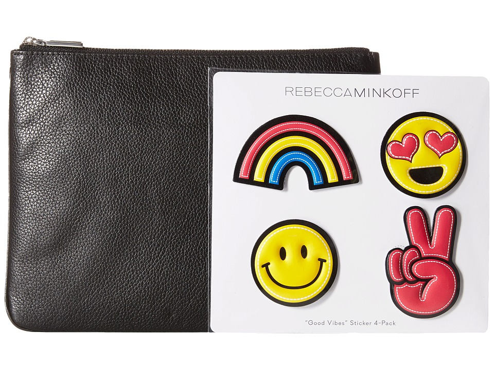 Rebecca Minkoff - Smiley Emoji Sticker Set w/ Pouch (Black) Handbags