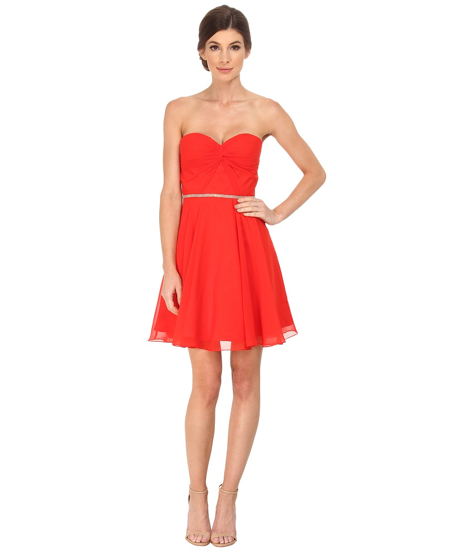 Faviana - Chiffon with Empire Bust Twist Rhinestone 7654 (Red) Women's Dress