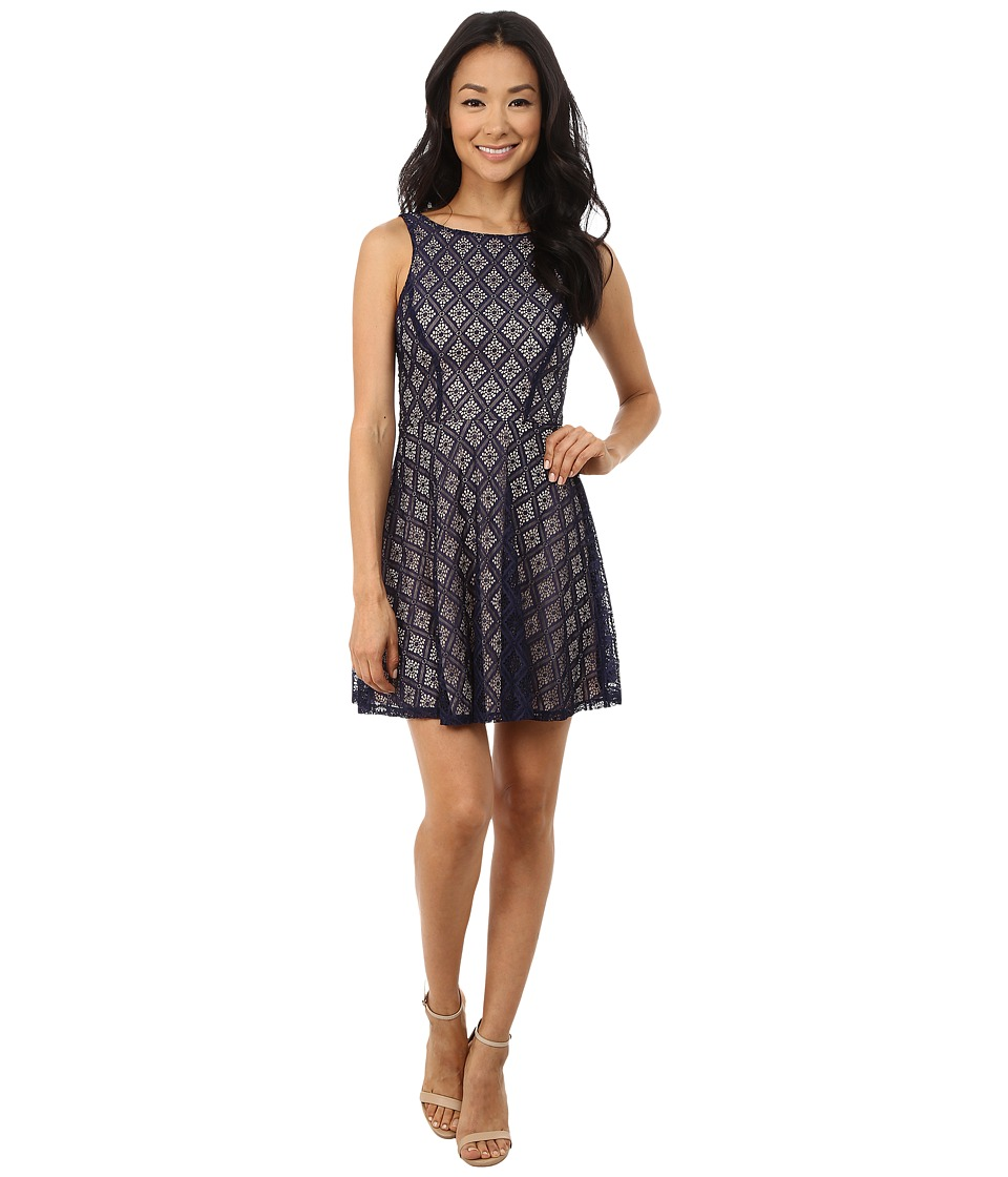 Gabriella Rocha - Sleeveless Diamond Lace Skater Dress (Navy) Women's Dress