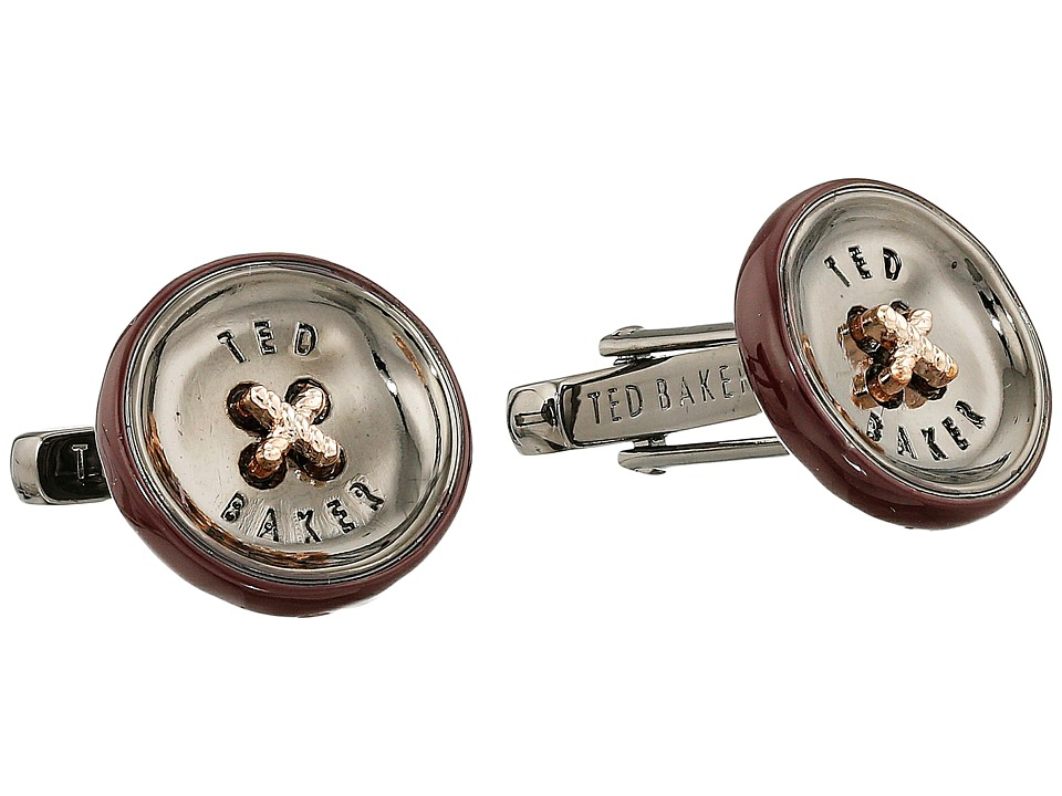 Ted Baker - Bcuff Button Cufflinks (Dark Red) Cuff Links