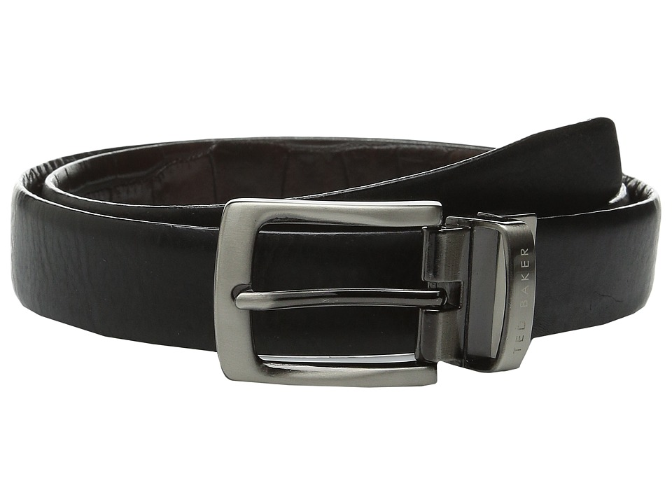 Ted Baker - Revolo Reversible Croc Back Belt (Black) Men's Belts