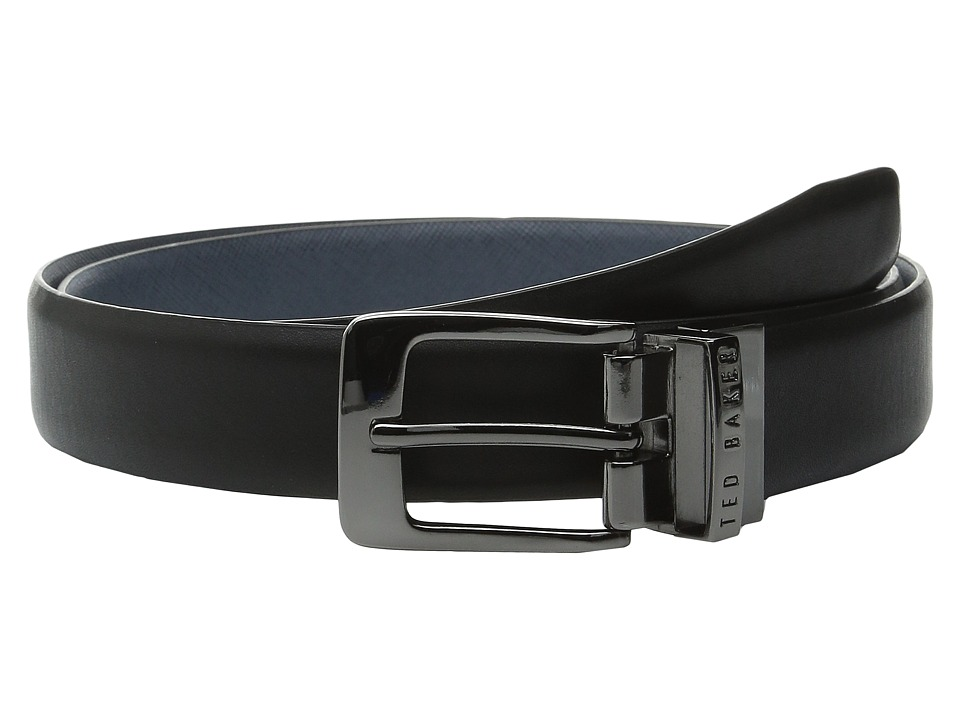 Ted Baker - Tweetoo Reversible Cross Grain Belt (Black) Men's Belts