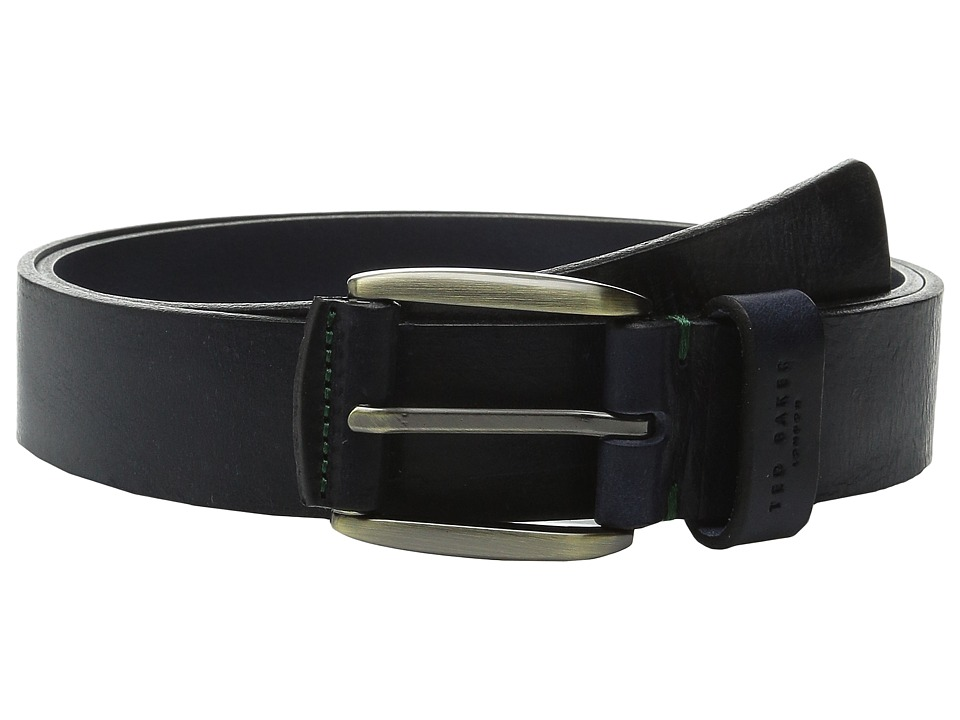 Ted Baker - Jeebelt Textured Leather Jean Belt (Navy) Men's Belts