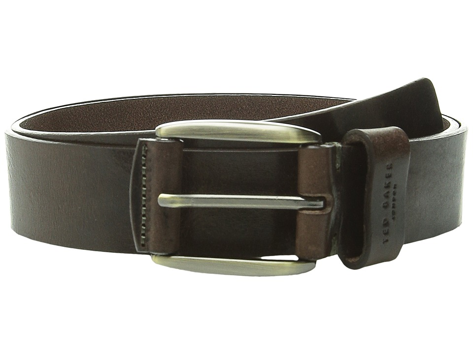 Ted Baker - Jeebelt Textured Leather Jean Belt (Chocolate) Men's Belts