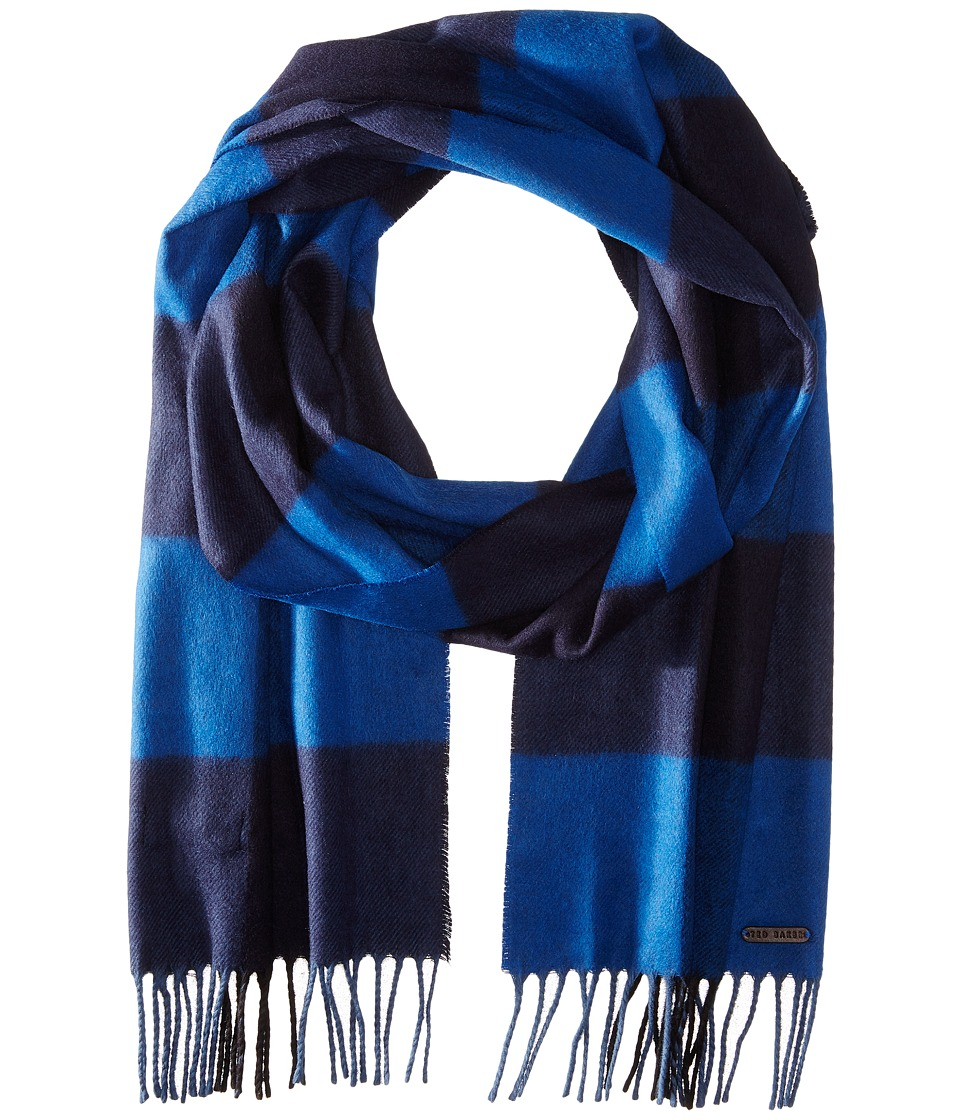 Ted Baker - Tayo Large Block Check Scarf (Blue) Scarves
