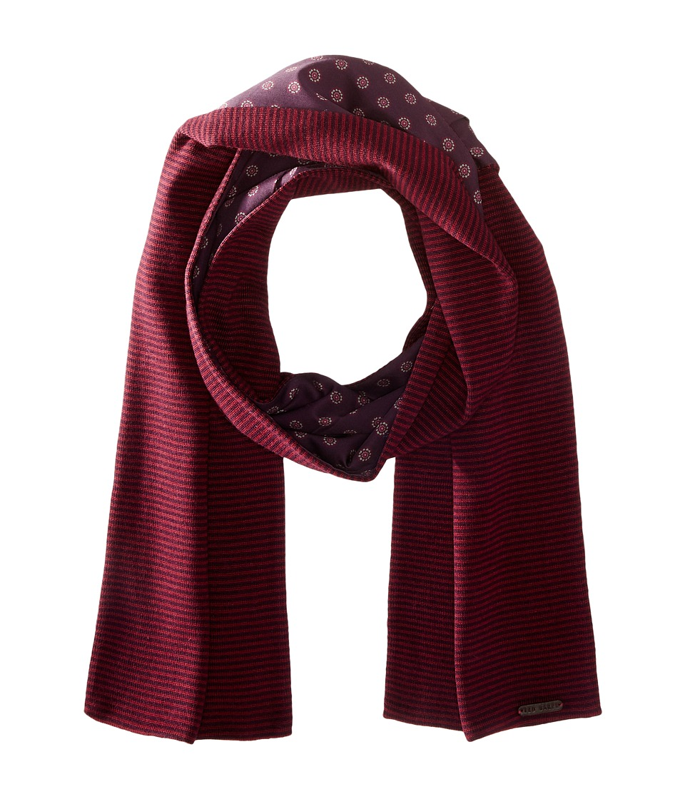 Ted Baker - Mondee Woven and Knitted Scarf (Dark Red) Scarves