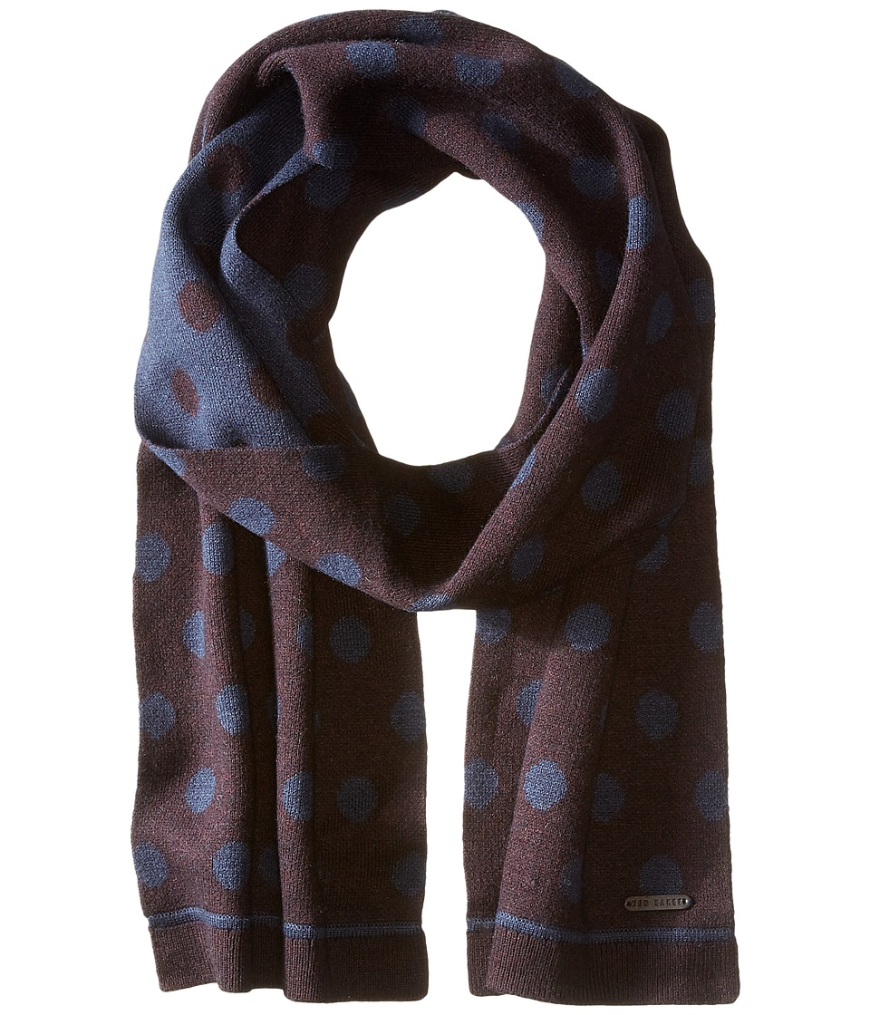 Ted Baker - Sponek Reversible Jacquard Spot Scarf (Dark Red) Scarves