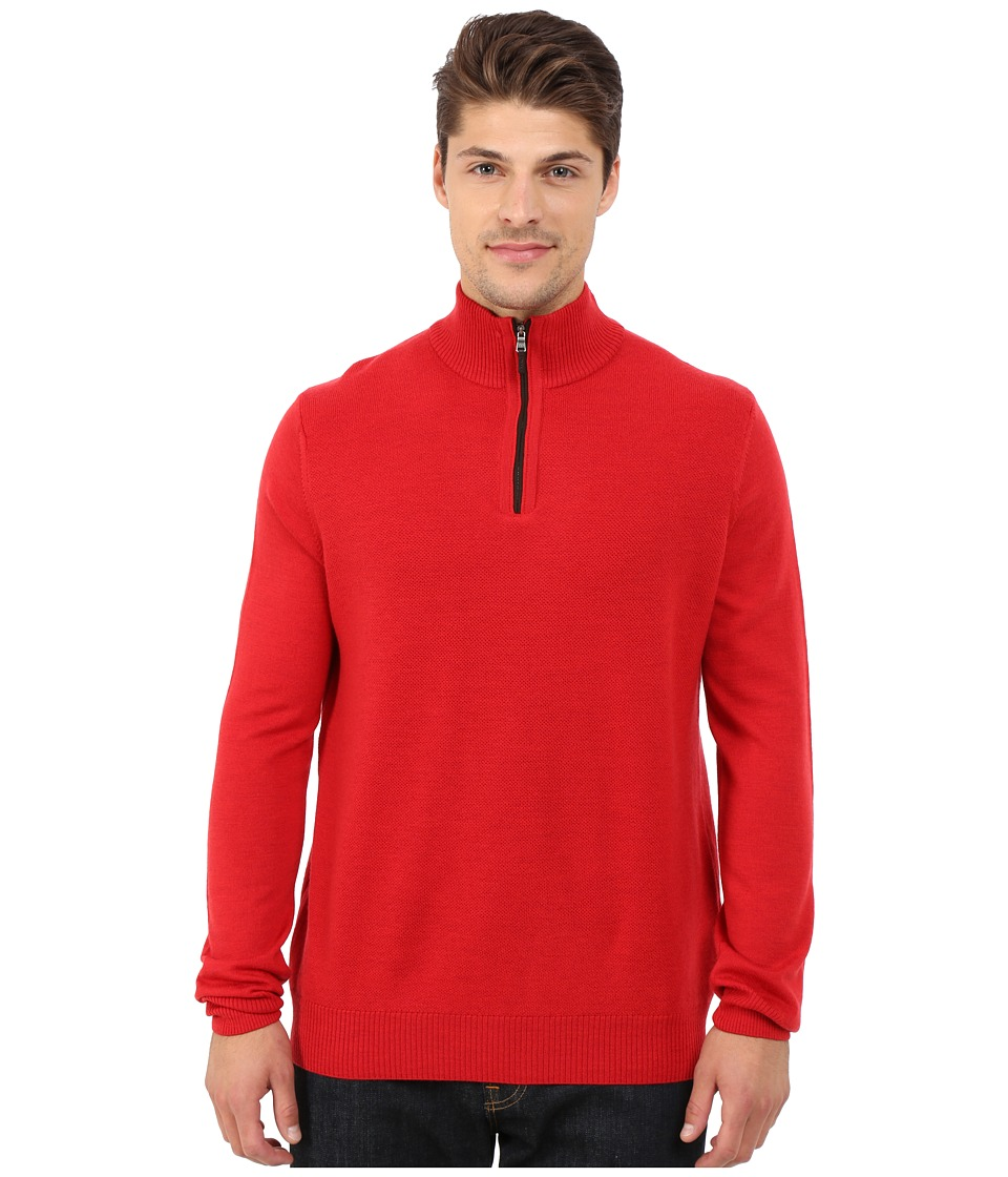 Thomas Dean & Co. - Long Sleeve Sweater Italian Extra-Fine Merino Quarter Zip (Red) Men's Sweater