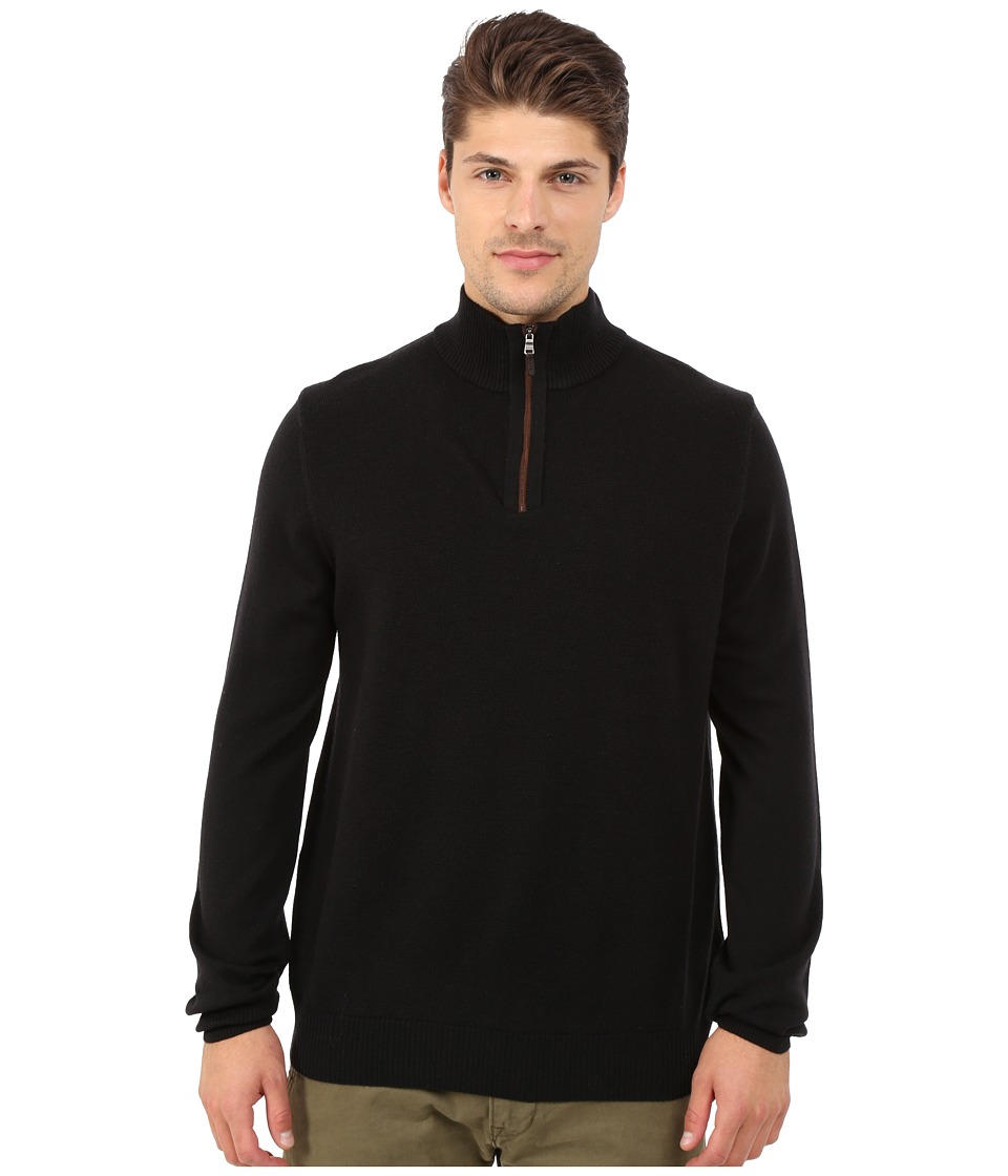 Thomas Dean & Co. - Long Sleeve Sweater Italian Extra-Fine Merino Quarter Zip (Black) Men