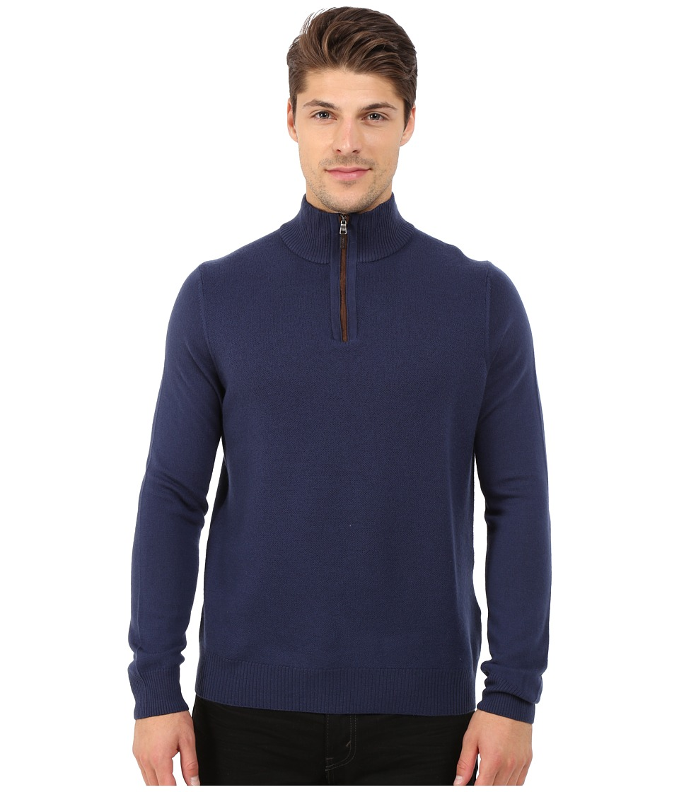 Thomas Dean & Co. - Long Sleeve Sweater Italian Extra-Fine Merino Quarter Zip (Denim) Men's Sweater