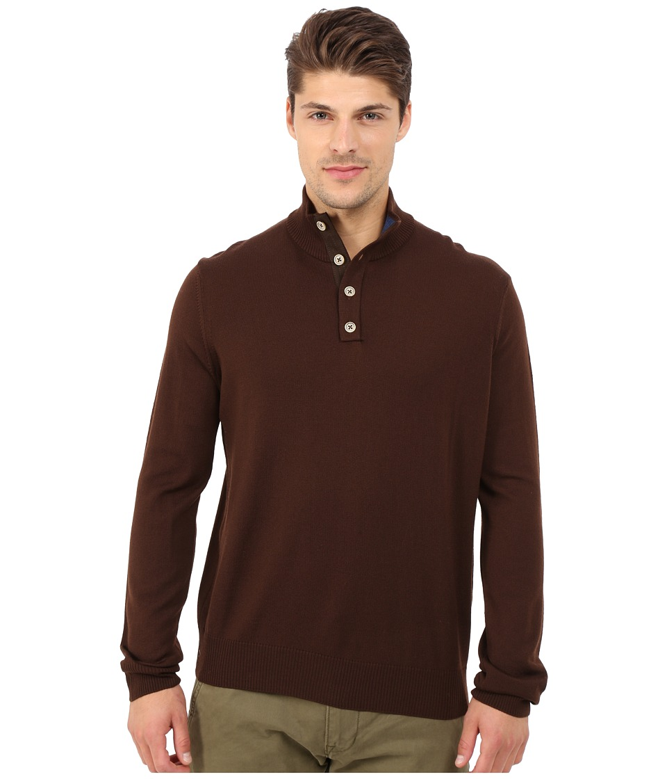 Thomas Dean & Co. - Long Sleeve Sweater Italian Extra-Fine Merino Quarter Button (Brown) Men