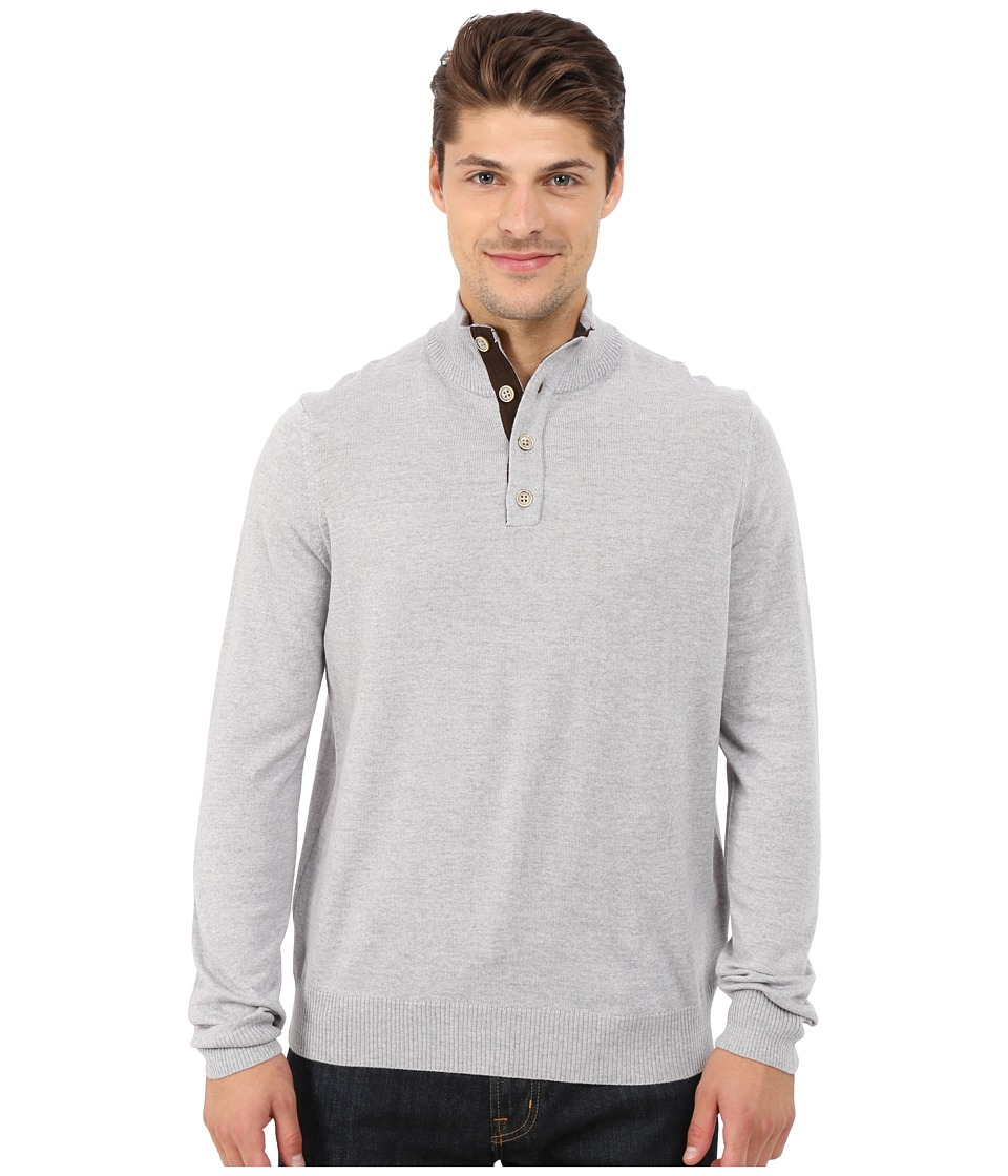 Thomas Dean & Co. - Long Sleeve Sweater Italian Extra-Fine Merino Quarter Button (Light Grey) Men's Sweater