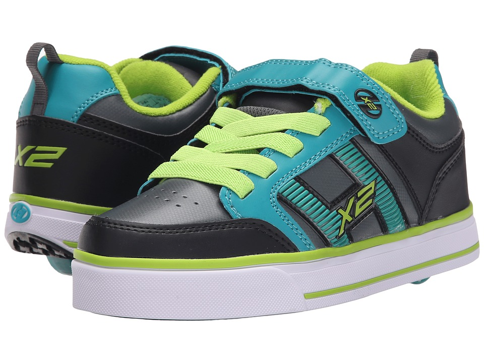 Heelys - Bolt Plus X2 (Little Kid/Big Kid) (Black/Teal/Charcoal) Boys Shoes