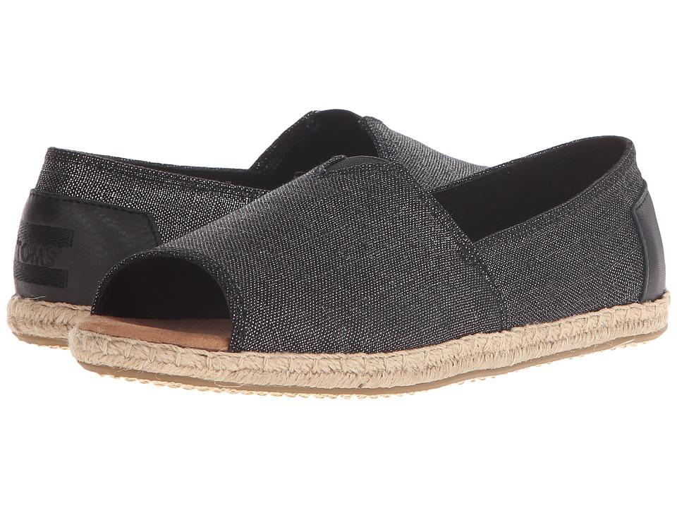 TOMS - Alpargata Open Toe (Black Metallic Linen) Women's Flat Shoes