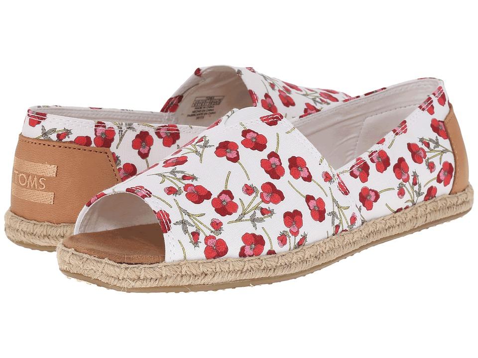 TOMS - Alpargata Open Toe (Poppy Textile/Sandstorm Vachette Leather) Women's Flat Shoes