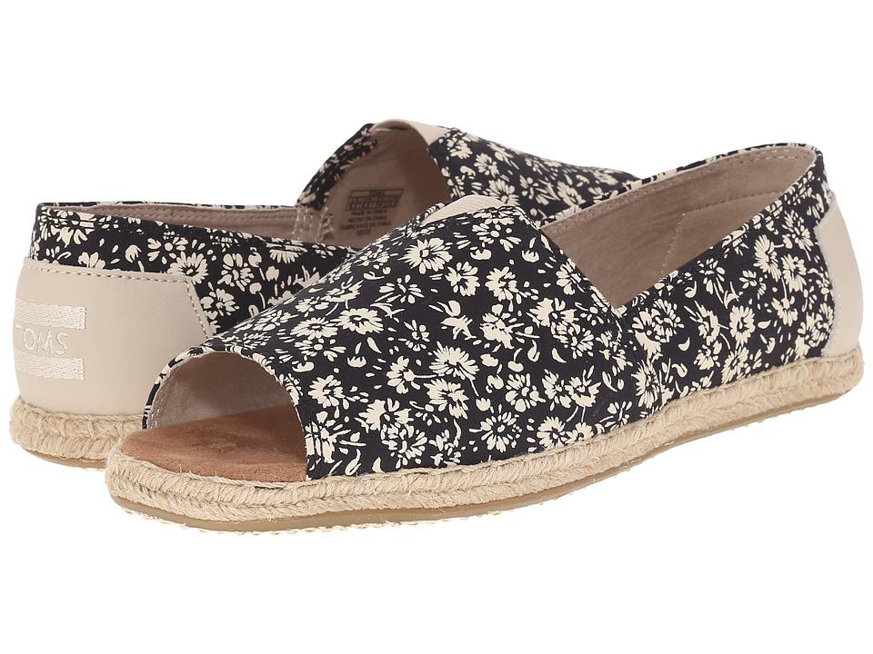 TOMS - Alpargata Open Toe (Black Textile Floral) Women's Flat Shoes