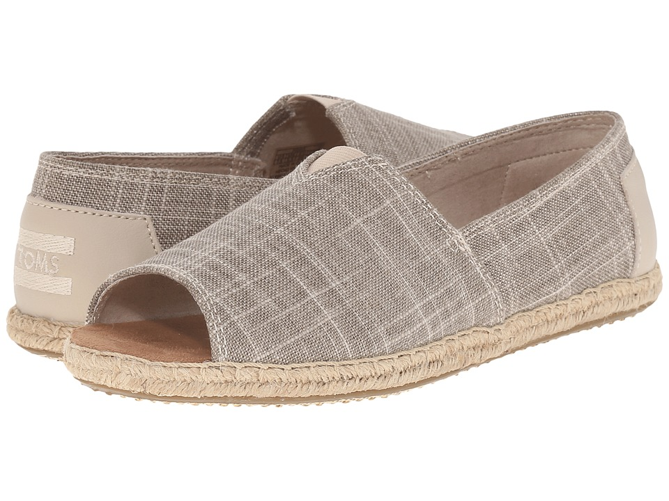TOMS - Alpargata Open Toe (Natural Metallic Linen) Women's Flat Shoes