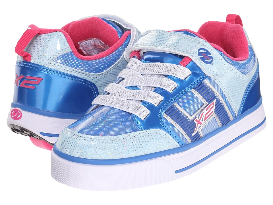 Heelys - Bolt Plus X2 (Little Kid/Big Kid) (Ice Blue/Silver/Pink) Girls Shoes