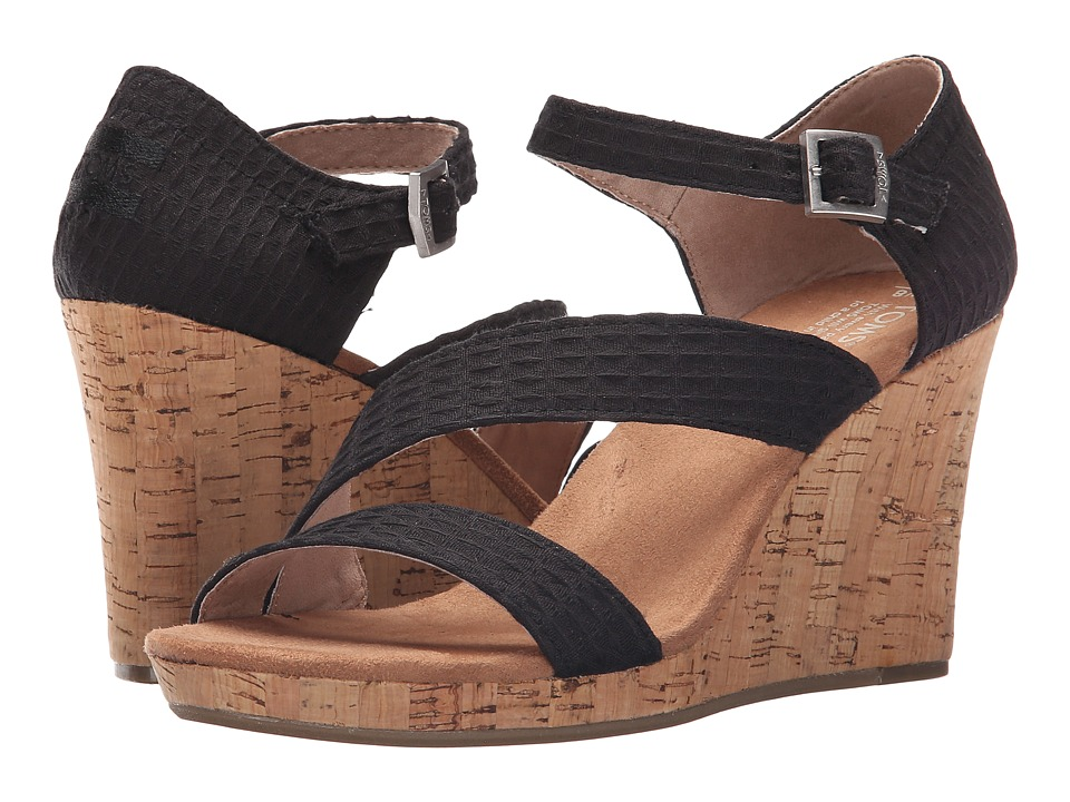 TOMS - Clarissa Wedge (Black Textile/Cork) Women's Wedge Shoes