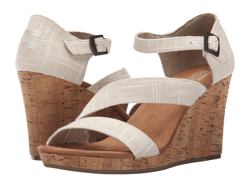TOMS - Clarissa Wedge (Natural Linen/Cork) Women's Wedge Shoes