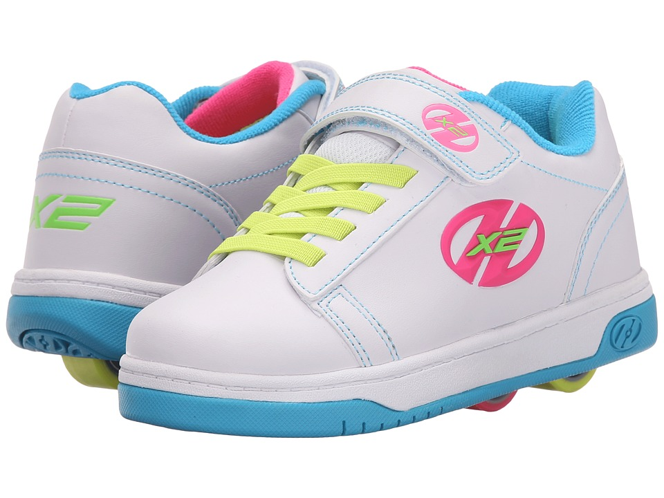 Heelys - Dual Up X2 (Little Kid/Big Kid/Adult) (White/Neon Multi) Girls Shoes