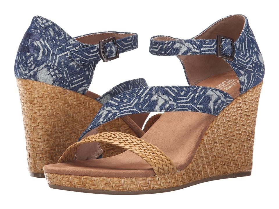 TOMS - Clarissa Wedge (Blue Batik Textile/Wrapped) Women's Wedge Shoes