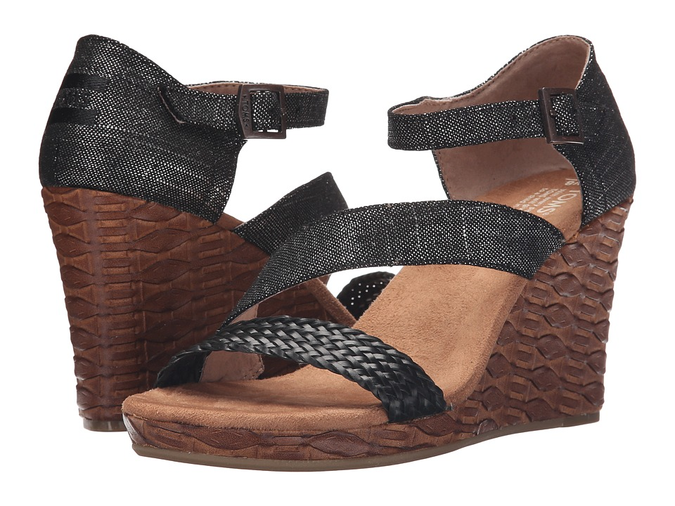 TOMS - Clarissa Wedge (Black Metallic Linen/Embossed) Women's Wedge Shoes