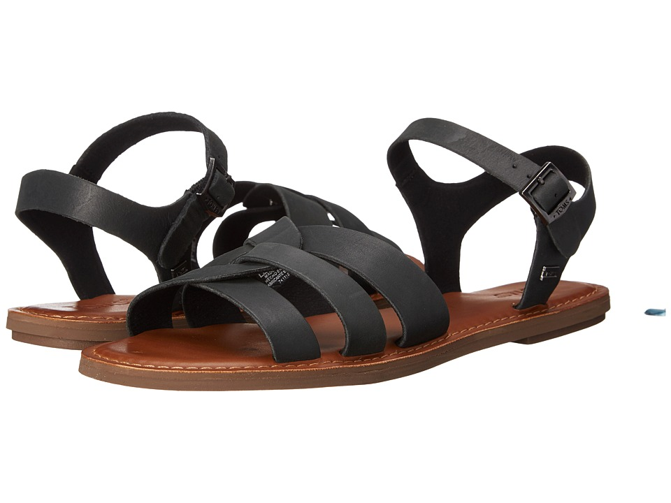 TOMS - Zoe Sandal (Black Leather) Women's Sandals