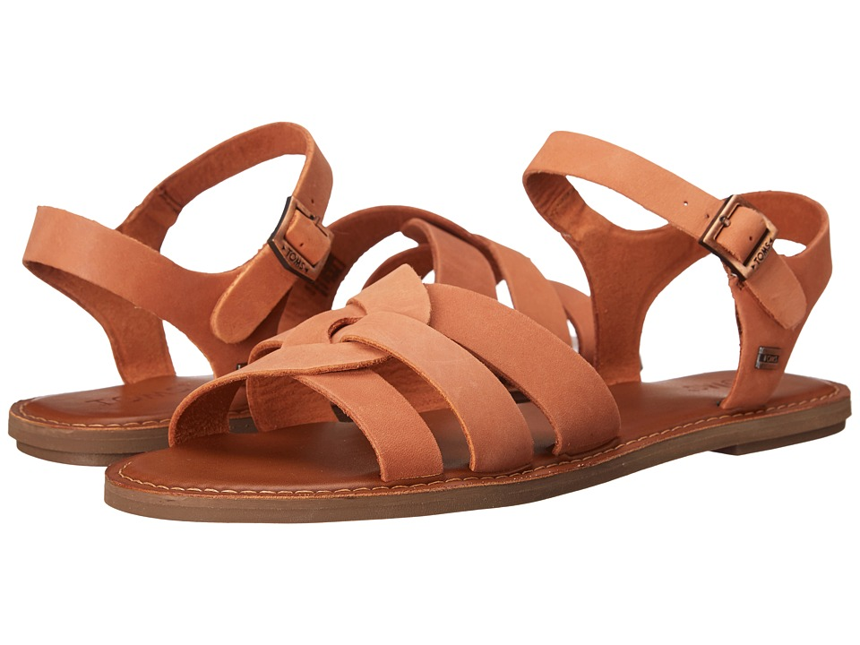 TOMS - Zoe Sandal (Brown Leather) Women's Sandals