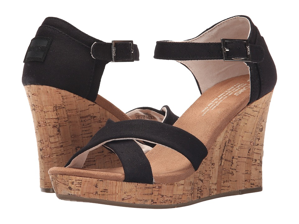 TOMS - Strappy Wedge (Black Canvas/Cork) Women's Wedge Shoes