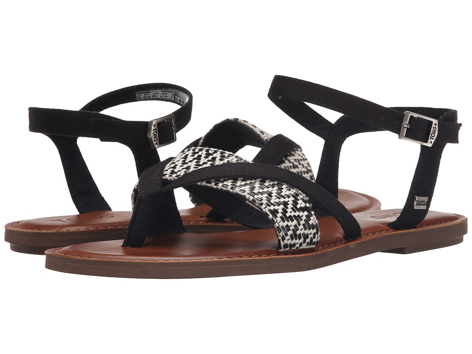 TOMS - Lexie Sandal (Black/White Woven) Women's Sandals